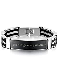 MeMeDIY Silver Black Stainless Steel Rubber Bracelet Link Polished - Customized Engraving