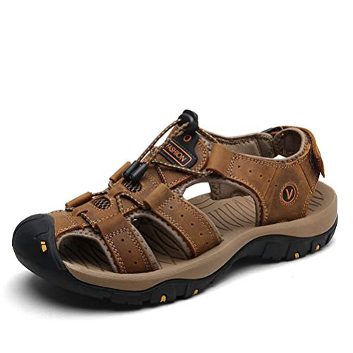 (JJzex Male Big Size Leather Summer Men Shoes Beach Sandals for Fashion Outdoor Casual Sneakers Brown 8)