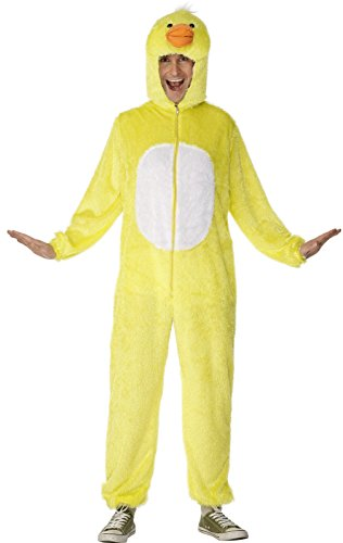 [Smiffy's Adult Unisex Duck Costume, Jumpsuit with Hood, Party Animals, Serious Fun, Size M, 31685] (Duck Costumes Adult)