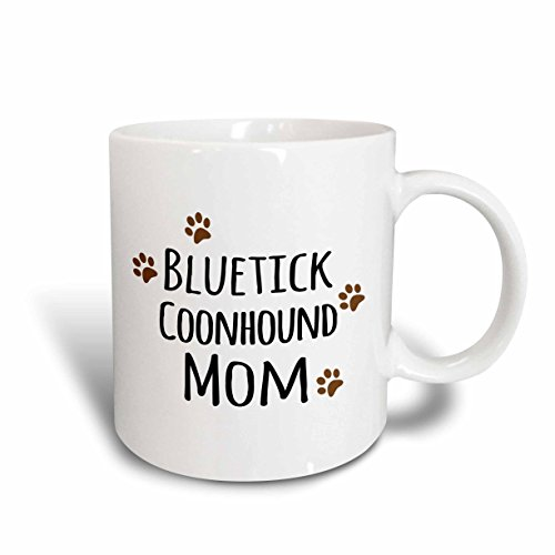 3dRose (mug_154077_6) Blue tick Coonhound Dog Mom - Doggie by breed - brown muddy paw prints - doggy lover mama - pet owner - Two Tone Blue Mug, - Dog Mug Coonhound