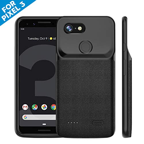 NEWDERY Google Pixel 3 Battery Case 4700mAh, Portable Extended Charger Battery Case, Built-in TPU and PC Charging Power Case for Google Pixel 3 - Type-C Port (Black 5.5 Inches)