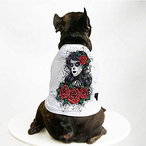 YOLIYANA Skull Fashion Pet Suit,Dead Hair Elegant Sugar Skull Lady with Roses in Retro Ink Style for Cats and Dogs,M ()