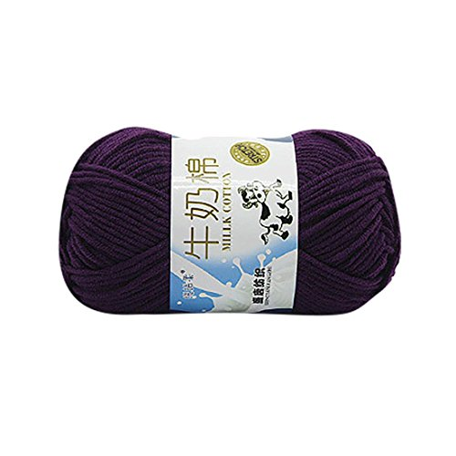 Molyveva Bonbons Yarn Skeins Assorted Colors for Crochet & Knitting Multi Pack Variety Colored Assortment - 100% Cotton Yarn Skeins - 1 Piece (Violet Rainbow Thread)