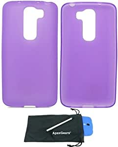 For LG G2 Mini D620 Transparent TPU Design Soft Flexible Phone Protector Cover Case with Stylus Pen and ApexGears (TM) Phone Bag (Purple)