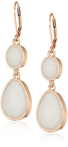 T Tahari Womens Marina Club Euro Wire Drop Earrings With Stones, Rose Gold/White, One Size - Wire Euro