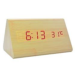Bedside Wooden LED Alarm Clock Electronic Digital Desktop Home Modern Fashion Travel Clocks for Bedrooms (Bamboo Red Light)