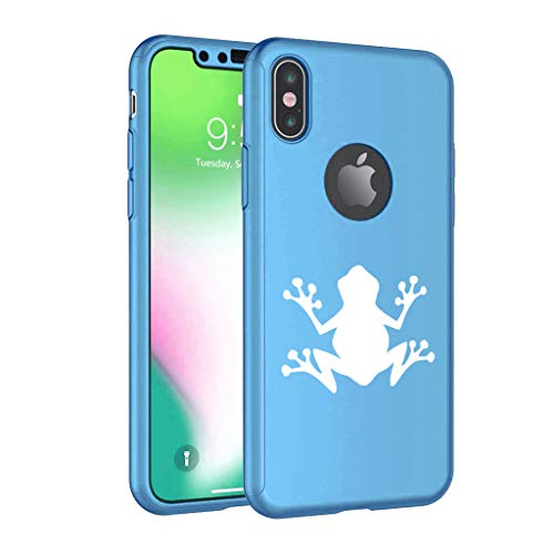 360° Full Body Thin Slim Hard Case Cover + Tempered Glass Screen Protector for Apple iPhone Frog (Light-Blue, for Apple iPhone X/iPhone Xs)