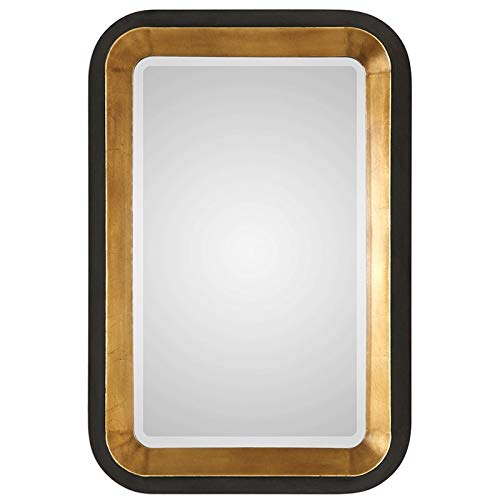 Uttermost Niva Antiqued Gold Leaf and Black 28 x 42 1 4 Wall Mirror