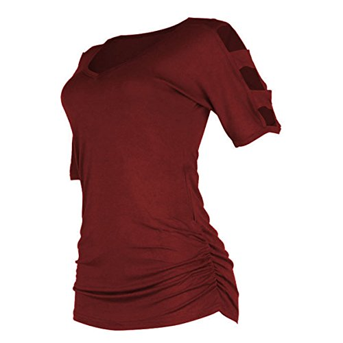 deed99e12761 best Women's V Neck T Shirts Casual Loose Hollow Out Shoulder Tops Tees  Blouses