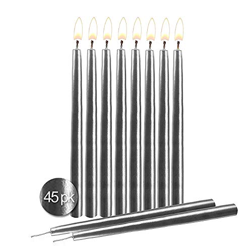 """Silver Birthday Candles 45 Pack – Dripless Decorating Candle for Centerpiece Holders, Cakes and Parties - Elegant Taper Design, 5.5"""" Tall - by Hyoola Candles"""