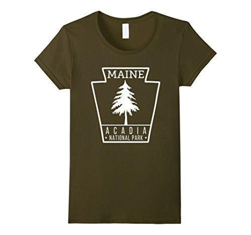 Womens Acadia National Park T Shirt Maine Badge Medium Olive
