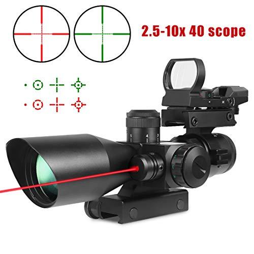 Twod Rifle Scope 3 in 1 2.5-10x40 Sight Red Laser Rail Mount+4 Reticle R&G Dot Open with Reflex Sight w/Weaver-Picatinny Rail Mount+Scope Barrel Mount