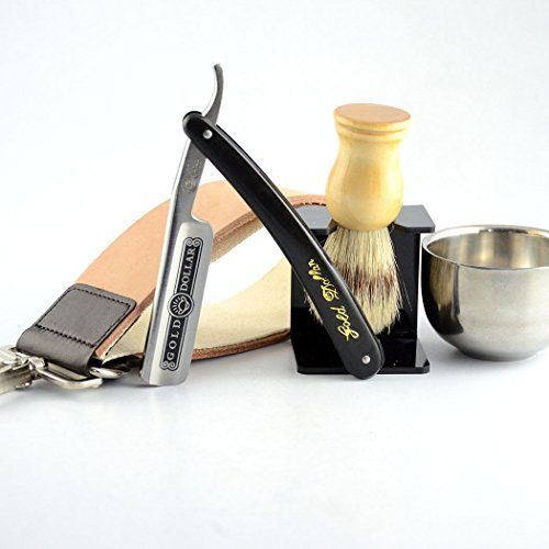Gold Dollar 66 Straight Razor + Brush + Brush Stand + Bowl + Leather Strop Strap (Dickens Dress)