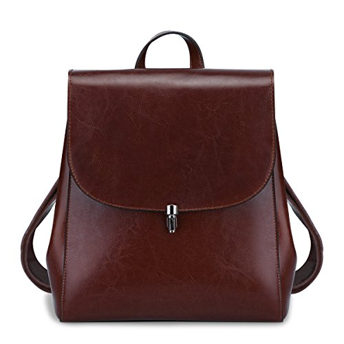 S-ZONE Women Girls Ladies Leather Backpack Purse Daily Casual Travel Bag (Coffee) by S-ZONE