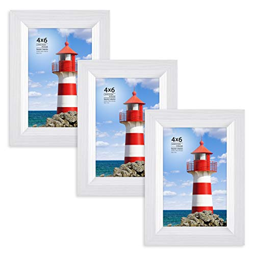 - Langdons 4x6 Picture Frame (3 Pack, White), Sturdy Wood Composite Photo Frame 4 x 6, Wall Mount or Table Top, Set of 3 Seaside Collection