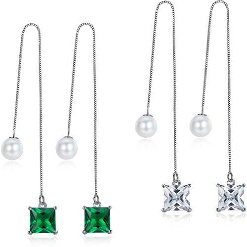 OneChance Long Drop Threaded Dangle Earrings for Women Cubic Zirconia + Shell (Circular Cubic Zirconia Earrings)