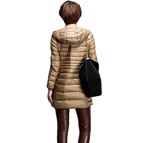 Manteau Fermeture Quilting Fashion Chaud Manteaux Kaki Femme Manches Élégant Manche Hiver Légèrement À Doudoune Longues Pureed Casual Capuchon Rembourré Blouson Uni Éclair 1cq6UO7Rw