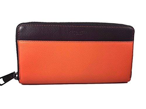 Coach Accordion Zip Wallet in Colorblock Leather MGU Coral Oxblood