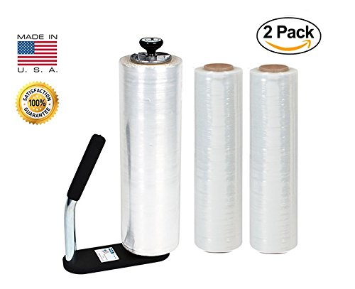 Clear Plastic Stretch Film, Industrial Strength Moving & Packing Wrap, 2 Pack 18'' x 1500 Ft Rolls with Best Selling Stretch Film Dispenser with Tension Knob Adjustment for Furniture, Boxes & Pallets by Palpak Films