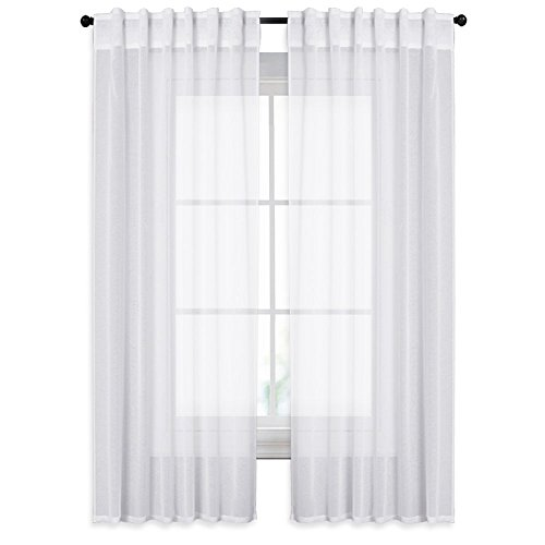 NICETOWN White 95 Inch Sheer Curtain Sets - White Soft Translucent Voile Drapes Window Covering for Patio Sliding Glass Door, Sold by 2 Panels, 55-inch Wide x 95-inch (French Pleated Drapes)