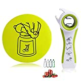 All in One Jar Opener & Gripper Pad for Jars, Cans, Bottles, Wine, Beer and Soda Pops, Ideal for Seniors with Arthritis, Hand Weakness, Effortless, Never Skidding - Green