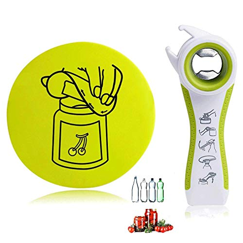 - All in One Jar Opener & Gripper Pad for Jars, Cans, Bottles, Wine, Beer and Soda Pops, Ideal for Seniors with Arthritis, Hand Weakness, Effortless, Never Skidding - Green