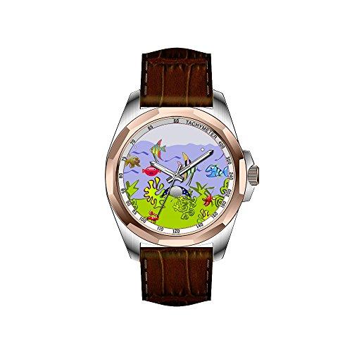 AIMS Christmas gift Mens gold Personalized Unique Fashion Design Waterproof Wrist Watch Aquarium Fish 2 Wrist Watch