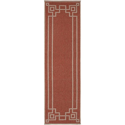 - Diva At Home 2.25' x 11.75' Mosaic Medley Cayenne Pepper Red and Sandy Beige Shed-Free Area Throw Rug Runner