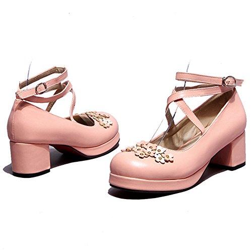703 Dark Talons Moyens Bowknot Escarpins Pink Femmes RAZAMAZA 607qgn