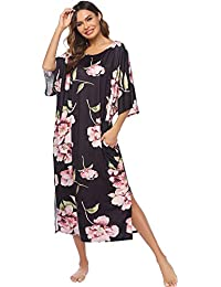 Nightgown, Womens Round Neck/V Neck Loungewear Oversized Pajama Loose Pockets Long Sleep Dress
