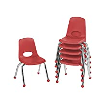 ECR4Kids School Stack Chair with Chrome Legs and Ball Glides, 12-Inch, 6-Pack, Red