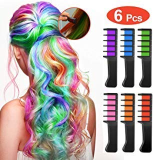 Temporary Washable Hair Color Comb  Built in Sealant NonToxic and Safe for Kids Party Cosplay and DIY 6colors