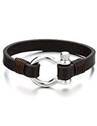 Mens Womens Steel Screw Anchor Shackles Wrap Bracelet with Brown Leather, Nautical Sailor Wristband