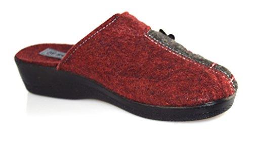Unbekannt - Zapatillas de estar por casa de Fieltro para mujer Rojo - rojo