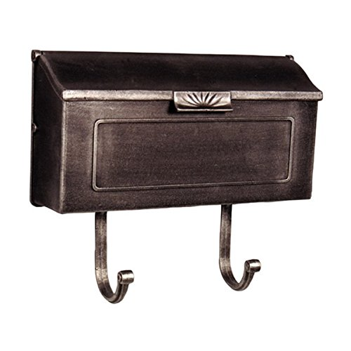 MD Group Mailbox Horizontal Swedish Silver Cast Aluminum Wall Mounted Single Compartment Outdoor Box by MD Group