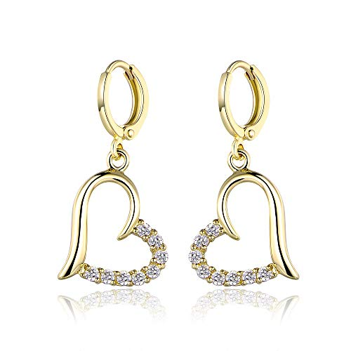 Yves Renaud Yellow Gold Plated Open Heart Pave Dangle Drop Earrings with Austrian Crystal - Elegant Fashion Jewelry for Women