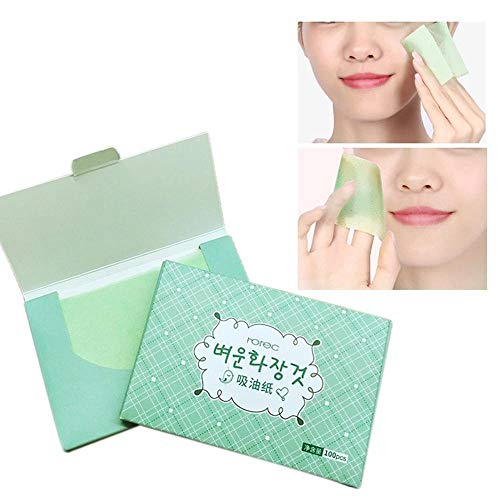Aolvo 100 Pcs Oil-Absorbing Tissues Beauty Makeup Face Skin Care Product Oil Control Absorbing Blotting Paper Sheets for Oily Skin Care to Remove Excess Oil & Shine from Aolvo