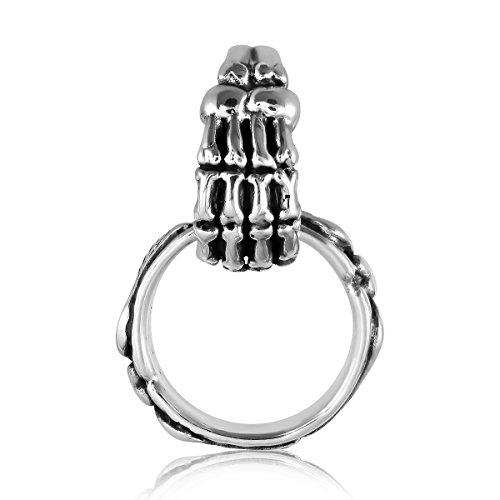 Sterling Silver Skull Hand Holding Angel Wings Pendant Rings