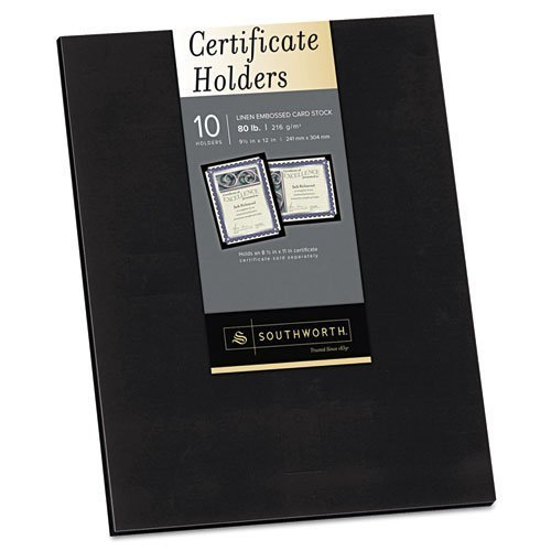 Southworth - Certificate Holder, Black, Linen, 105 lbs., 12 x 9-1/2, 10/Pack PF18 (DMi PK by Southworth ()