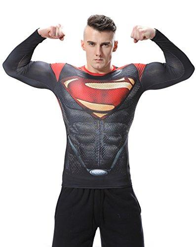 Red Plume Men's Film Super-Hero Series Compression Sports Shirt Skin Running Long Sleeve Tee (L, Super -