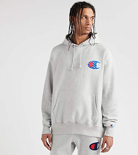 Champion LIFE Men's Reverse Weave Pullover Hoodie, Oxford Gray/Sublimated c Logo, 2X Large ()