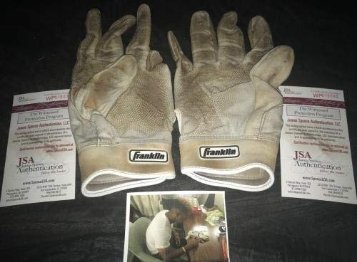 Wander Franco Tampa Rays Signed 2018 Game Used Batting Gloves WITNESS JSA Certified MLB Game Used Gloves