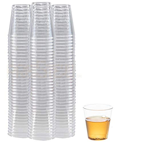 DRINKET CLEAR PLASTIC SHOT GLASSES 1.5 Oz - Disposable Shot Glasses Bulk - Wine Tasting Cups - Small Plastic Tumbler - Shooter, Whiskey Mini Shot Cups - Hard small plastic cups bulk - 100 Pack. -