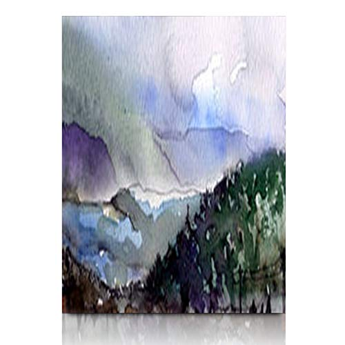 Armko Canvas Wall Art Prints Color Original Watercolor Painting On Carpathian Hill Mountains Hand Drawing Abstract Nature Natural 12 x 16 Inches Wooden Framed Painting Home Decor Bedroom Office - Original Abstract Watercolor