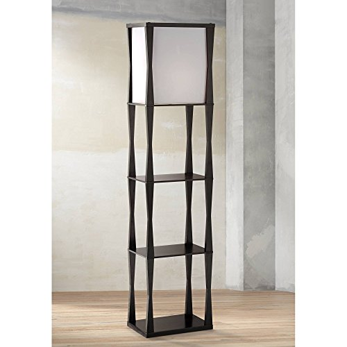 Haiku Asian Etagere Floor Lamp Ebony Wood Frame Drop in Box Linen Shade for Living Room Bedroom Office - 360 Lighting