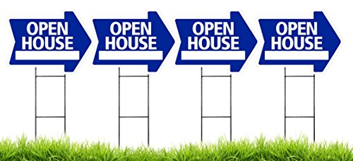 - Open House Arrow Shaped Sign Kit with Stands - 4 Pack (Includes 4 signs and 4 stands) (Blue)