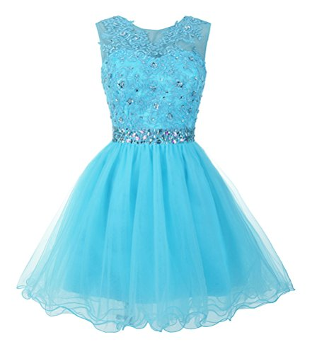 Mamilove Women's Tulle Short Applique Beading Formal Homecoming Cocktail Party Dress 2 Sky Blue (Blue Tulle Dress Womens)
