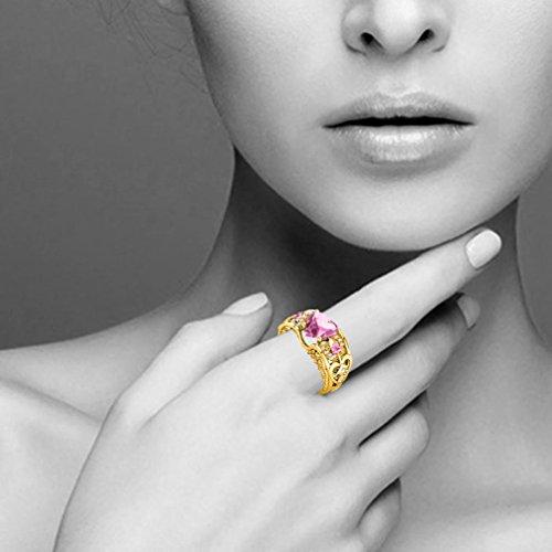 WensLTD Clearance! Silver Natural Ruby Gemstones Birthstone Bride Wedding Engagement Heart Ring