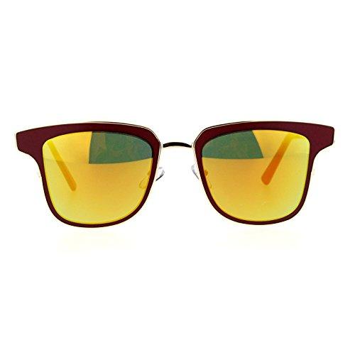SA106 mirrored Mirror Horn Rim Cat Eye Metal Outline Womens Sunglasses Burgundy - Eye Outline Cat