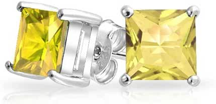 Bling Jewelry 925 Sterling Silver Princess Cut CZ Simulated Topaz Stud Earrings 7mm